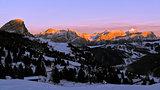 Sunset on the dolomites skyline