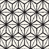 Vector Seamless Black And White Hand Painted Line Geometric  Rhombus Grid Pattern