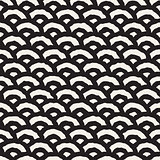 Vector Seamless Black And White Hand Painted Line Geometric Circular Oriental Pattern