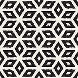 Vector Seamless Black And White Hand Painted Line Geometric Rhombus Pattern