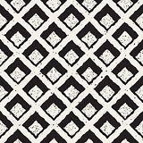 Vector Seamless Black And White Hand Painted Line   Rhombus Grid Waffel Pattern