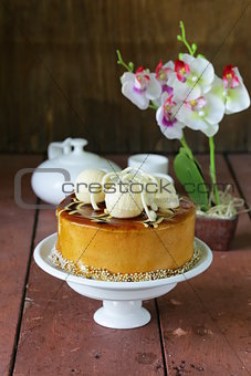 cake caramel biscuit decorated with white chocolate