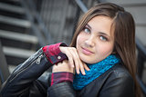 Portrait of Pretty Young Girl Wearing Leather Jacket