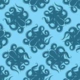 seamless background with octopus on blue background for packaging or menus