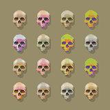 Skulls pixel multicolored.