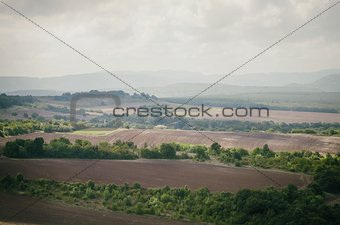 Agricultural Valley in Cloudy Day
