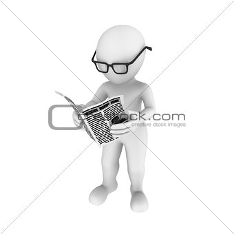 3d human with newspaper