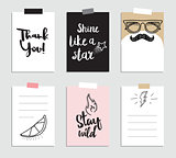Set of creative 6 journaling cards. Vector illustration. Template for greeting scrapbooking, planner, congratulations, stickers and invitations. Inspiring quotes. Posters set.