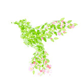 Flying beautiful bird with flowers and green leaves