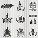 Set of wine and  beer signs