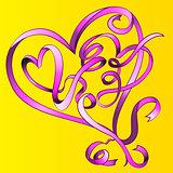 heart stroke ribbon shape vector illustration