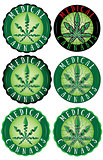 Medical cannabis leaf design green stamps
