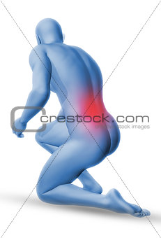 3D male medical figure in kneeling position