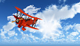 3D figure flying biplane in blue sky