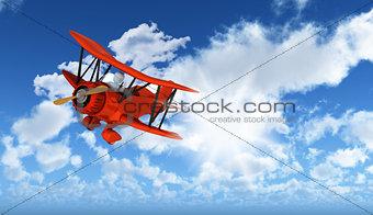 3D figure flying biplane in blue sky