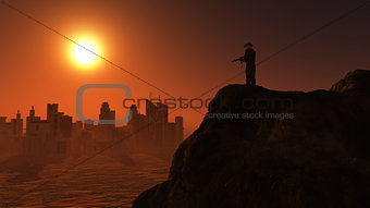 3D soldier on lookout at sunset