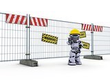 Robot with construction barrier fence