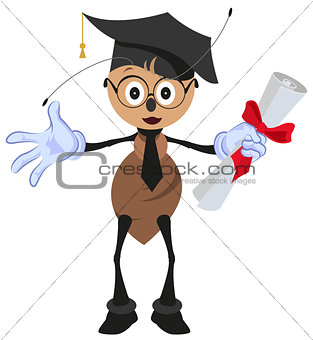 Ant holding diploma graduation