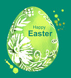 Happy Easter. Green watercolor Easter Egg