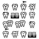 Kawaii Tooth, cute teeth characters - black vector icons set