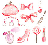 Pink watercolor elements