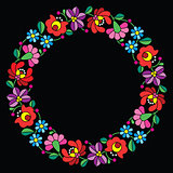 Kalocsai embroidery in circle - Hungarian floral folk pattern on black
