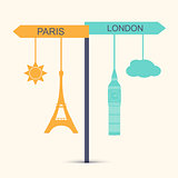 Travel banner. Concept of choice between London and Paris