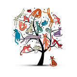 Cats tree, childish style. Sketch for your design