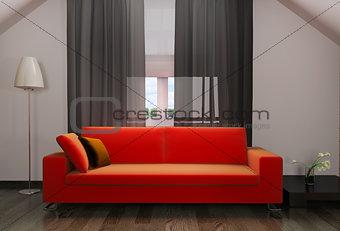 red sofa in modern interior
