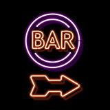 Vintage neon sign with an indication of the bar