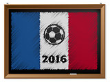 France flag and soccerbal on chalkboard