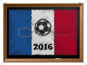 France flag and soccerbal on chalkboard