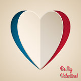 Cool valentine greeting with heart shaped paper peel