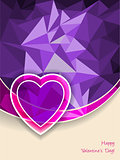 Valentine's day greeting with heart and pink purple background