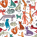 Cute cats, seamless pattern. Sketch for your design