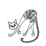 Black cat, zentangle style for your design