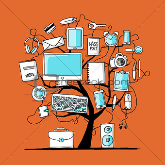 Art tree with digital office devices for your design