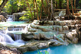 Beautiful Waterfall at Erawan National Park in Kanchanaburi ,Tha