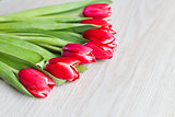 Red tulips are on the table