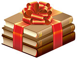 Stack of books tied ribbon. Books gift