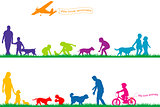 Colored silhouettes of people and animals