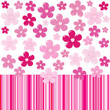 Pink background with flowers and stripes