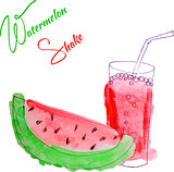vector watercolor watermelon shake