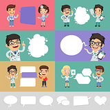 Set of a Speaking Cartoon Doctors