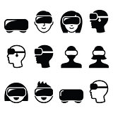 Virtual reality headset for 3D gaming, viewing icons