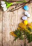 Easter still life with copyspace and spring flowers