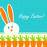 Happy Easter Funny Background with Rabbit and Carrot Vector
