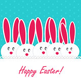 Happy Easter Funny Background with Rabbit Vector Illustration
