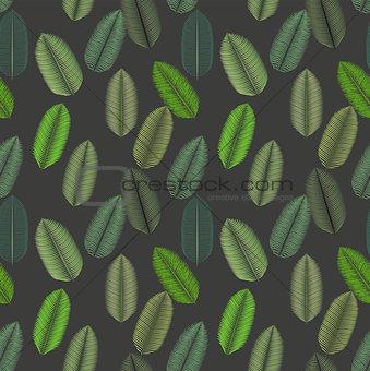 Palm Leaf. Seamless Pattern. Vector Illustration.