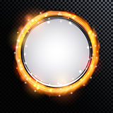 Abstract Golden Shiny Fire Frame on a Transparent Background